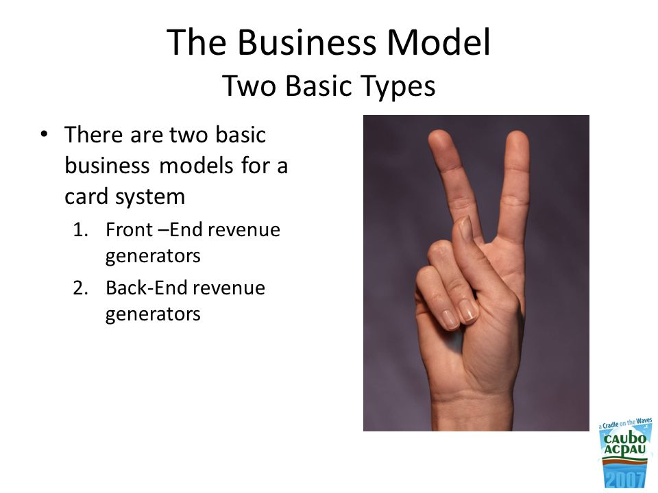 The Business Model Two Basic Types There are two basic business models for a card system 1.Front –End revenue generators 2.Back-End revenue generators