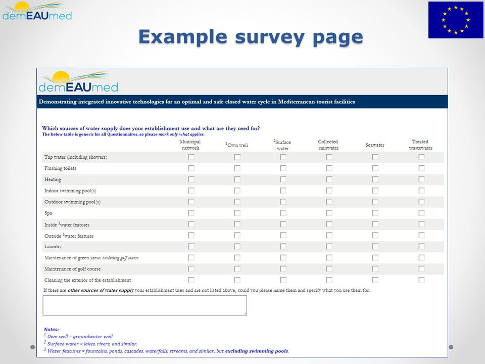 Example survey page