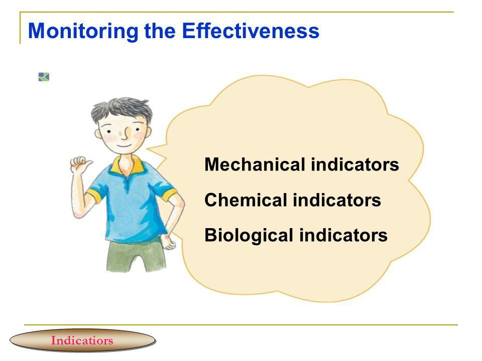 Monitoring the Effectiveness Indicatiors Mechanical indicators Chemical indicators Biological indicators