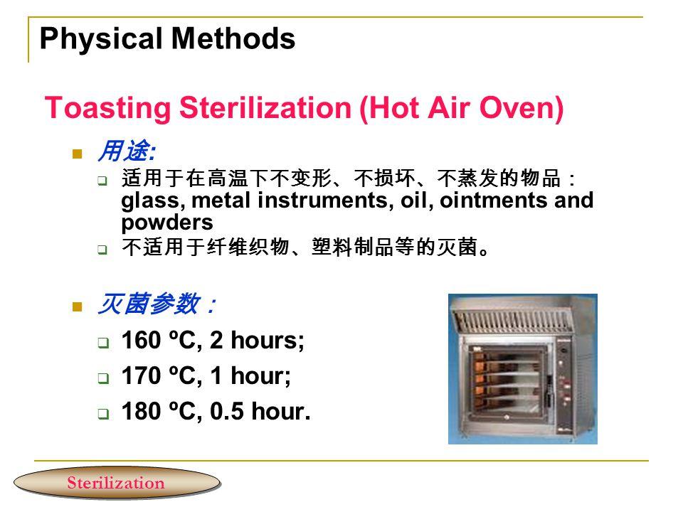 Toasting Sterilization (Hot Air Oven) 用途 :  适用于在高温下不变形、不损坏、不蒸发的物品: glass, metal instruments, oil, ointments and powders  不适用于纤维织物、塑料制品等的灭菌。 灭菌参数:  160 ºC, 2 hours;  170 ºC, 1 hour;  180 ºC, 0.5 hour.