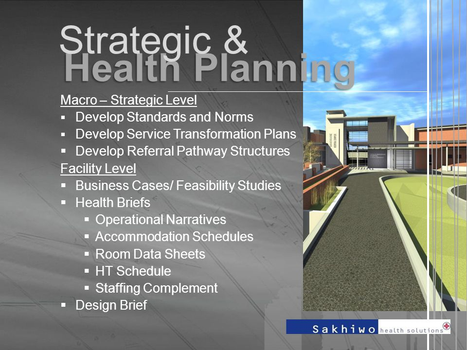 Health Planning. Macro – Strategic Level  Develop Standards and Norms  Develop Service Transformation Plans  Develop Referral Pathway Structures Fa