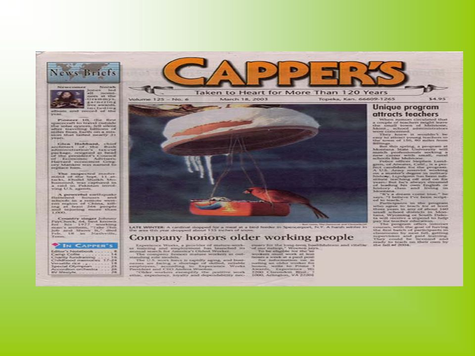 2.The Copper's Weekly Capper's is a century-old American magazine published in Kansas.