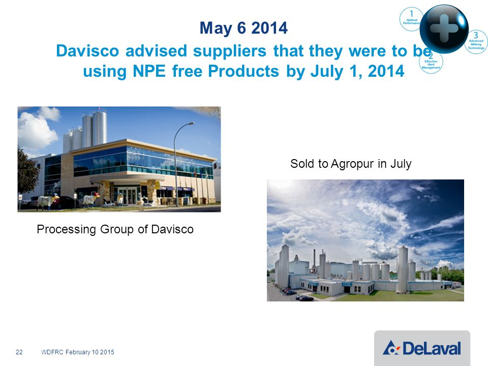 May 6 2014 Davisco advised suppliers that they were to be using NPE free Products by July 1, 2014 WDFRC February 10 201522 Processing Group of Davisco Sold to Agropur in July