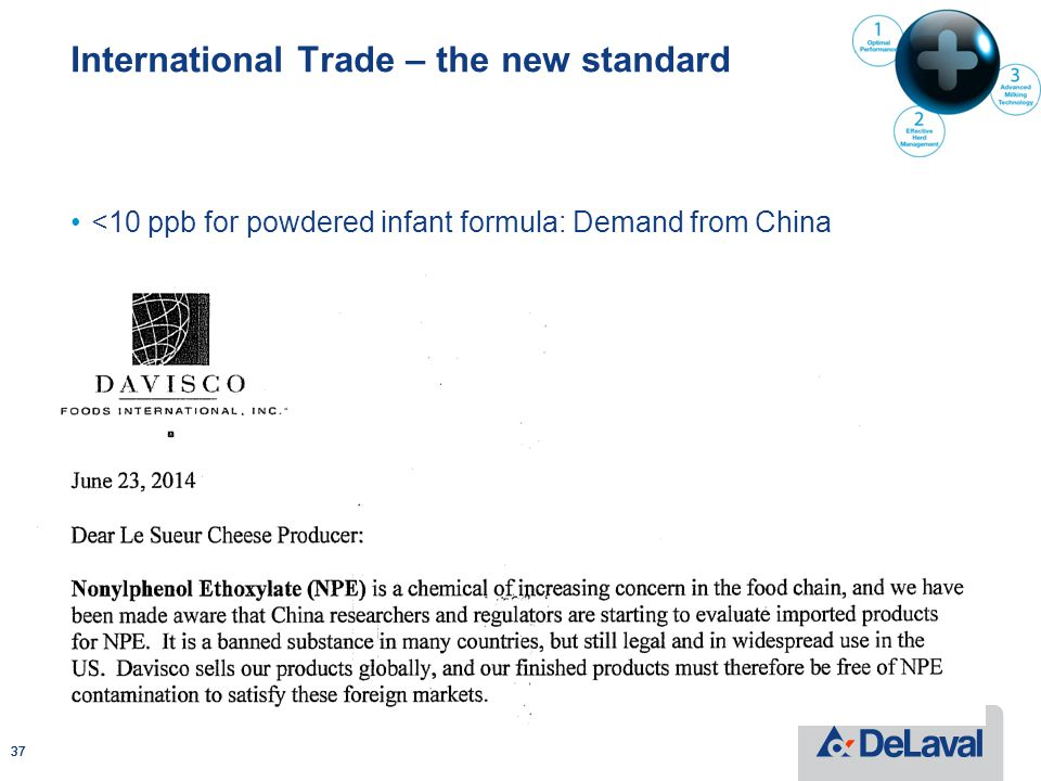 International Trade – the new standard <10 ppb for powdered infant formula: Demand from China 37