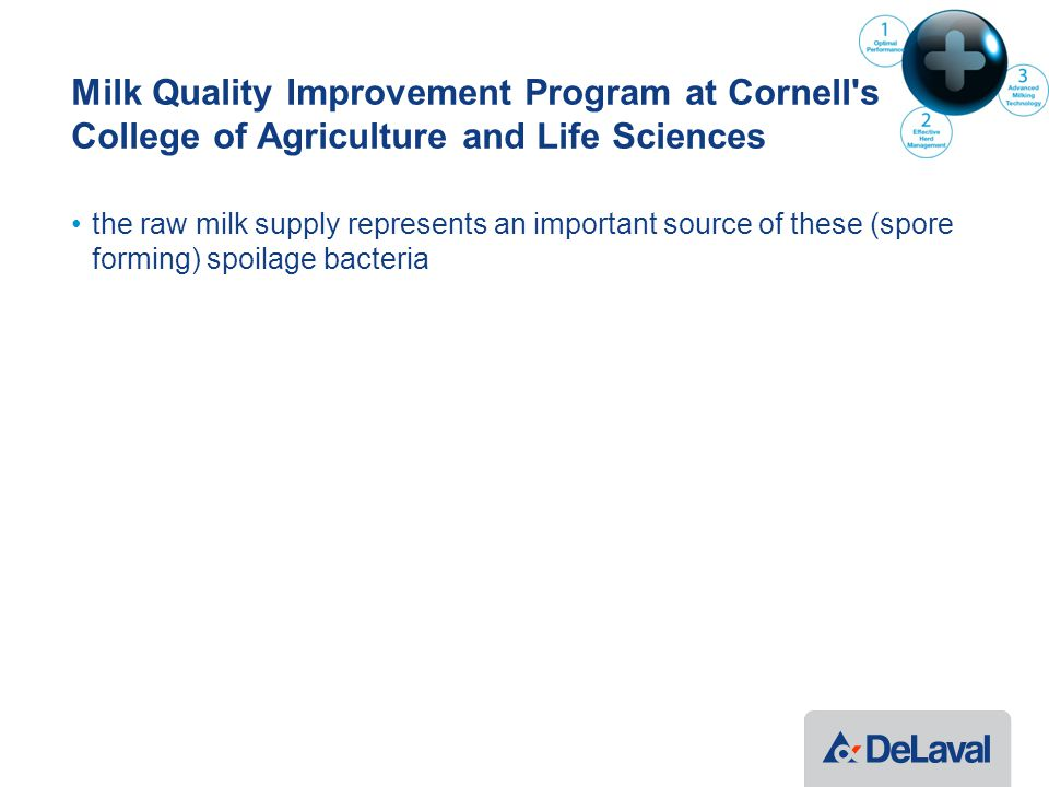 Milk Quality Improvement Program at Cornell s College of Agriculture and Life Sciences the raw milk supply represents an important source of these (spore forming) spoilage bacteria