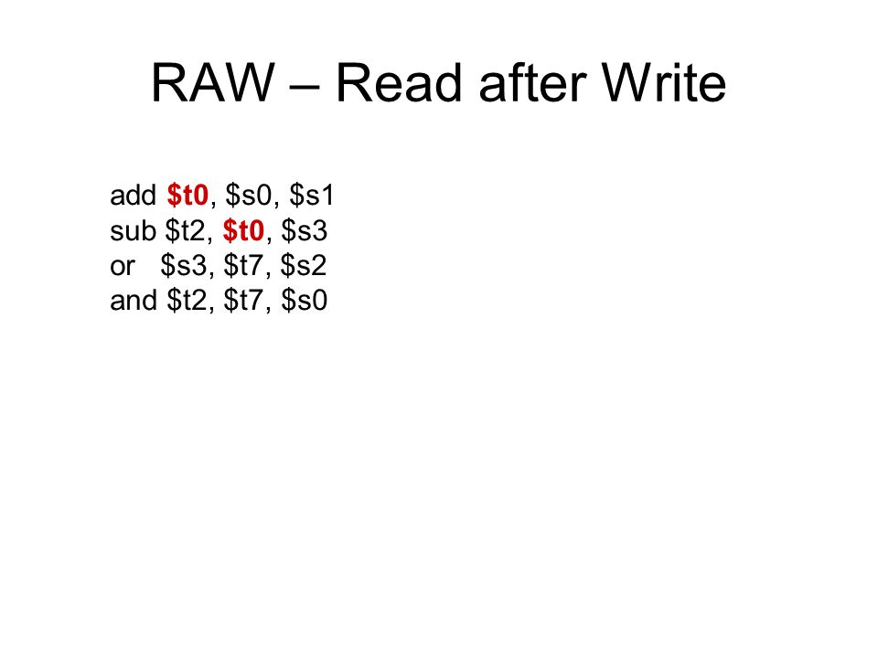 RAW – Read after Write add $t0, $s0, $s1 sub $t2, $t0, $s3 or $s3, $t7, $s2 and $t2, $t7, $s0