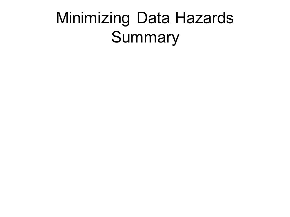 Minimizing Data Hazards Summary