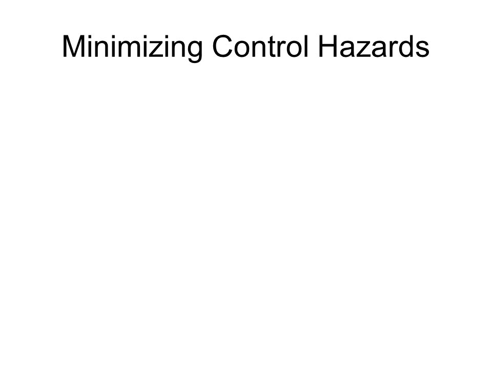 Minimizing Control Hazards
