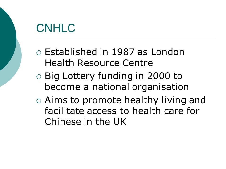 CNHLC  Established in 1987 as London Health Resource Centre  Big Lottery funding in 2000 to become a national organisation  Aims to promote healthy living and facilitate access to health care for Chinese in the UK