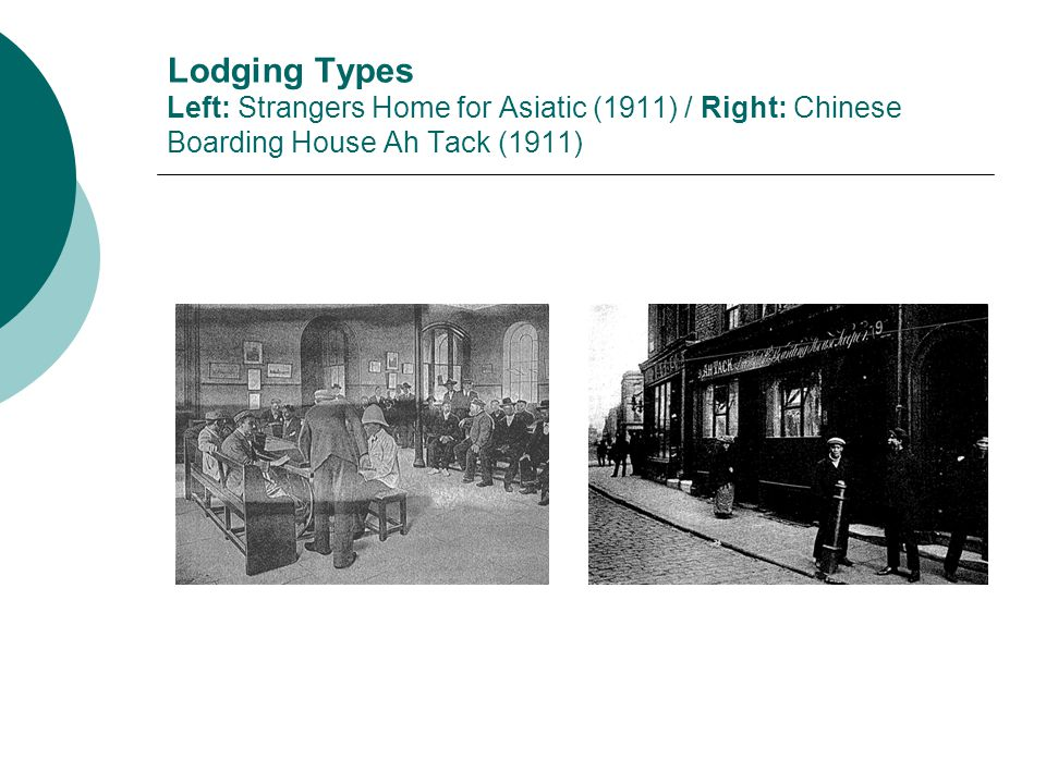 Lodging Types Left: Strangers Home for Asiatic (1911) / Right: Chinese Boarding House Ah Tack (1911)