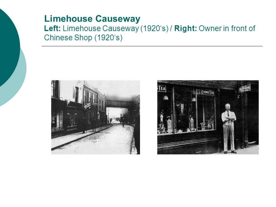 Limehouse Causeway Left: Limehouse Causeway (1920's) / Right: Owner in front of Chinese Shop (1920's)
