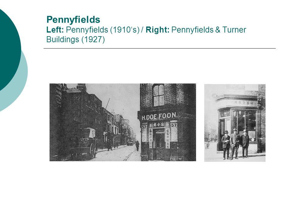 Pennyfields Left: Pennyfields (1910's) / Right: Pennyfields & Turner Buildings (1927)
