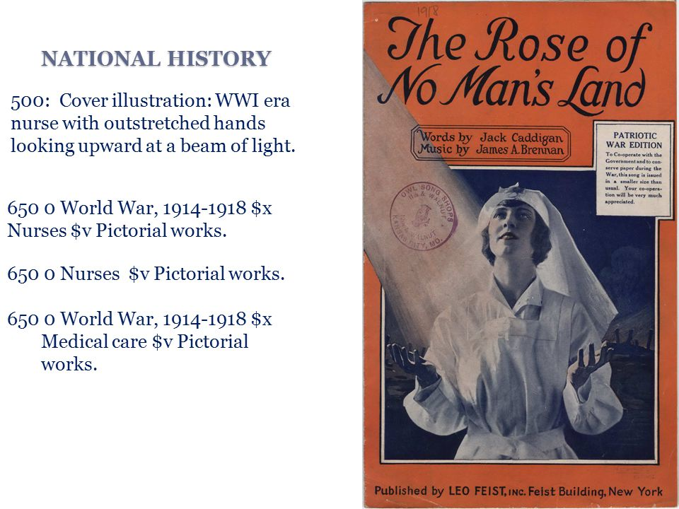 NATIONAL HISTORY 500: Cover illustration: WWI era nurse with outstretched hands looking upward at a beam of light.