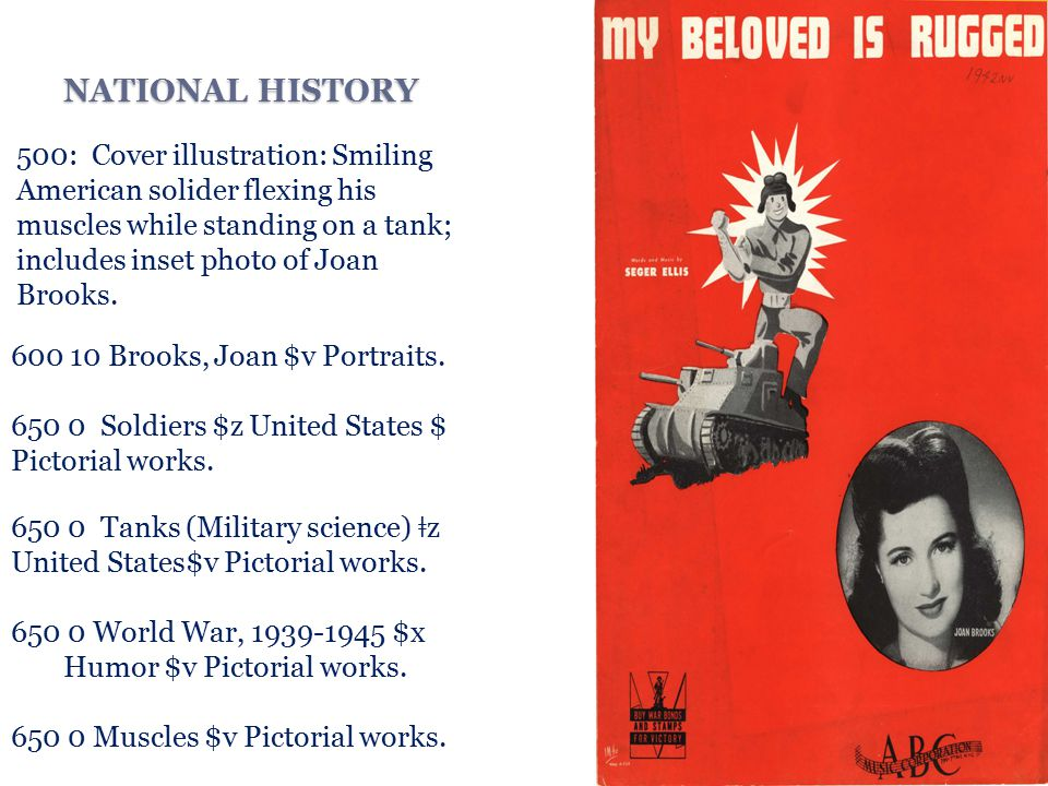 NATIONAL HISTORY 500: Cover illustration: Smiling American solider flexing his muscles while standing on a tank; includes inset photo of Joan Brooks.