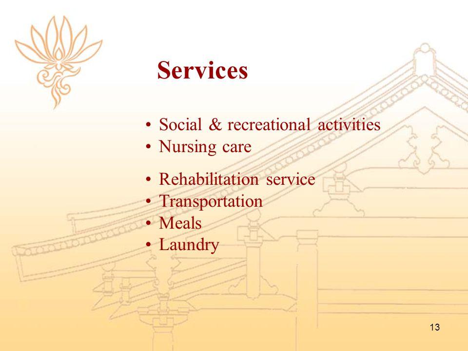 13 Social & recreational activities Nursing care Rehabilitation service Transportation Meals Laundry Services