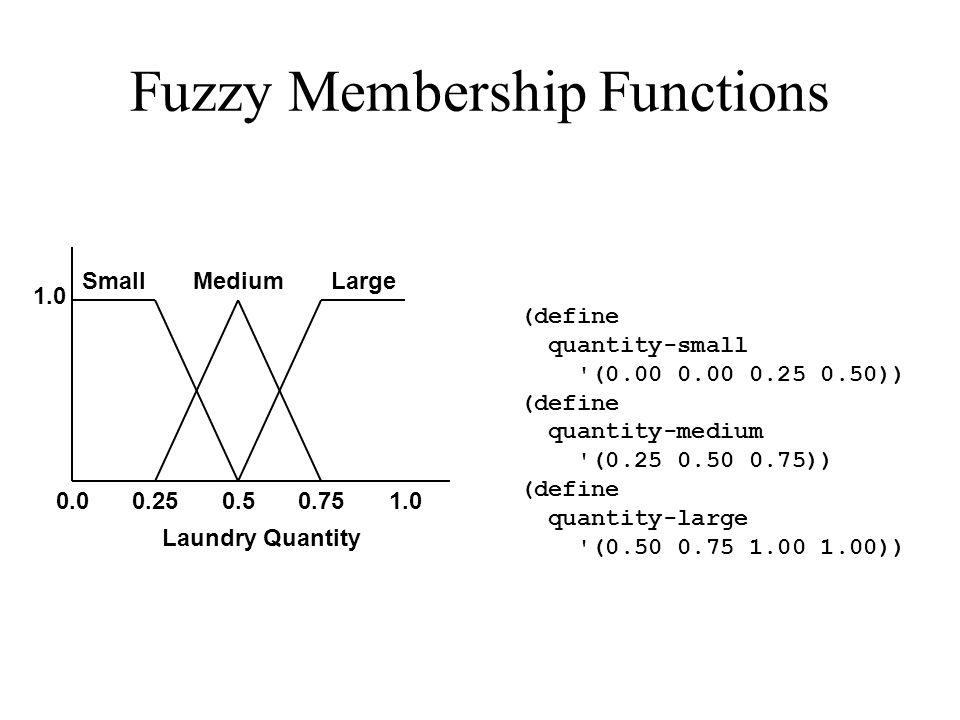 Fuzzy Membership Functions 0.00.250.50.751.0 SmallMediumLarge Laundry Quantity (define quantity-small (0.00 0.00 0.25 0.50)) (define quantity-medium (0.25 0.50 0.75)) (define quantity-large (0.50 0.75 1.00 1.00))