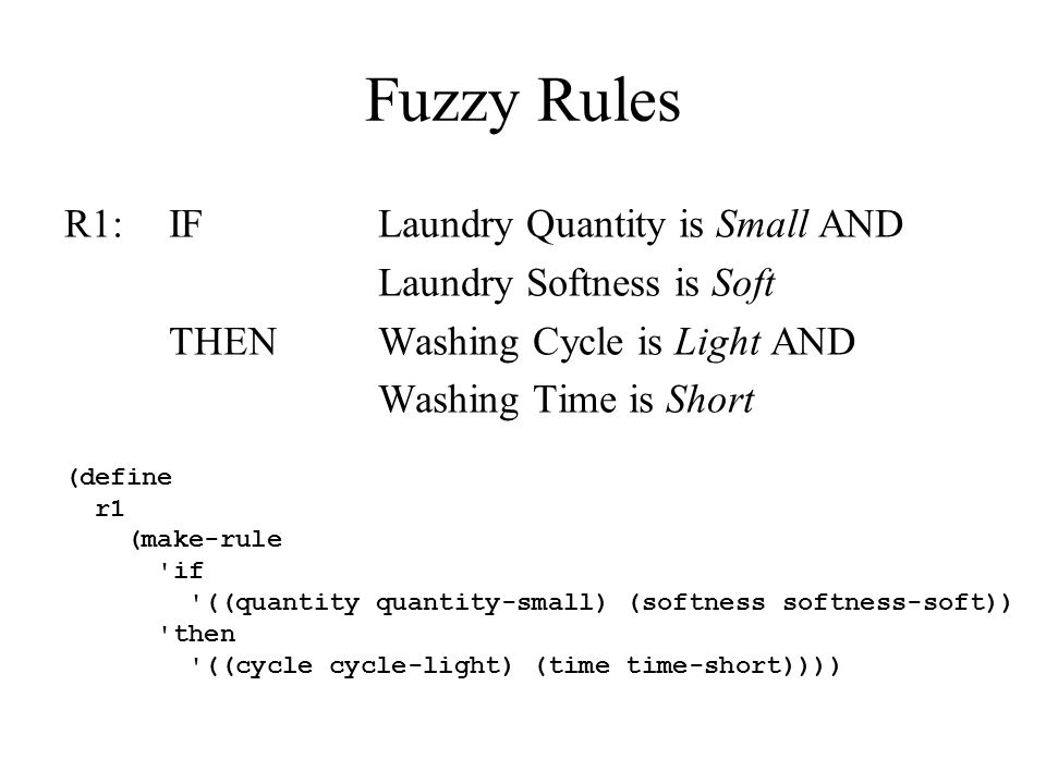 Fuzzy Rules R1:IFLaundry Quantity is Small AND Laundry Softness is Soft THENWashing Cycle is Light AND Washing Time is Short (define r1 (make-rule 'if