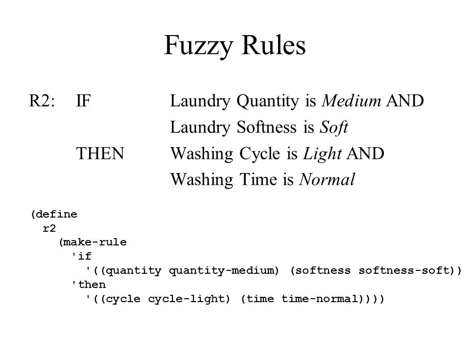 Fuzzy Rules R2:IFLaundry Quantity is Medium AND Laundry Softness is Soft THENWashing Cycle is Light AND Washing Time is Normal (define r2 (make-rule if ((quantity quantity-medium) (softness softness-soft)) then ((cycle cycle-light) (time time-normal))))