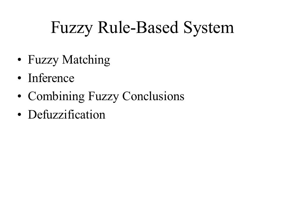 Fuzzy Rule-Based System Fuzzy Matching Inference Combining Fuzzy Conclusions Defuzzification