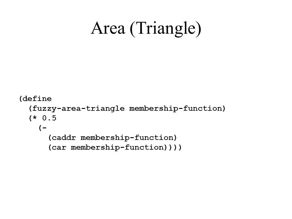 Area (Triangle) (define (fuzzy-area-triangle membership-function) (* 0.5 (- (caddr membership-function) (car membership-function))))