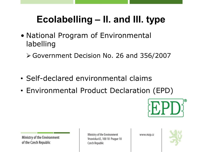 Ecolabelling – II.and III.