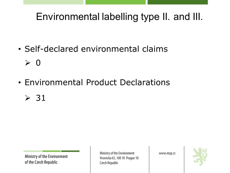 Environmental labelling type II.and III.