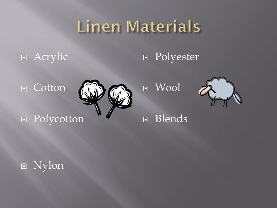  Acrylic  Cotton  Polycotton  Nylon  Polyester  Wool  Blends