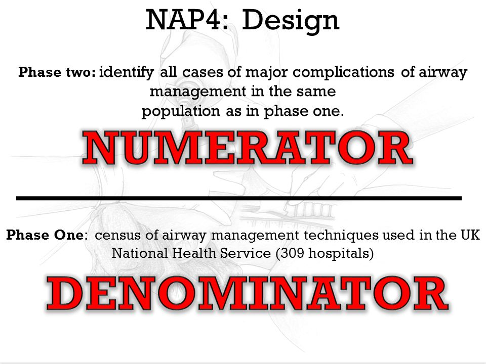 NAP4: Design Phase One: census of airway management techniques used in the UK National Health Service (309 hospitals) Phase two: identify all cases of major complications of airway management in the same population as in phase one.