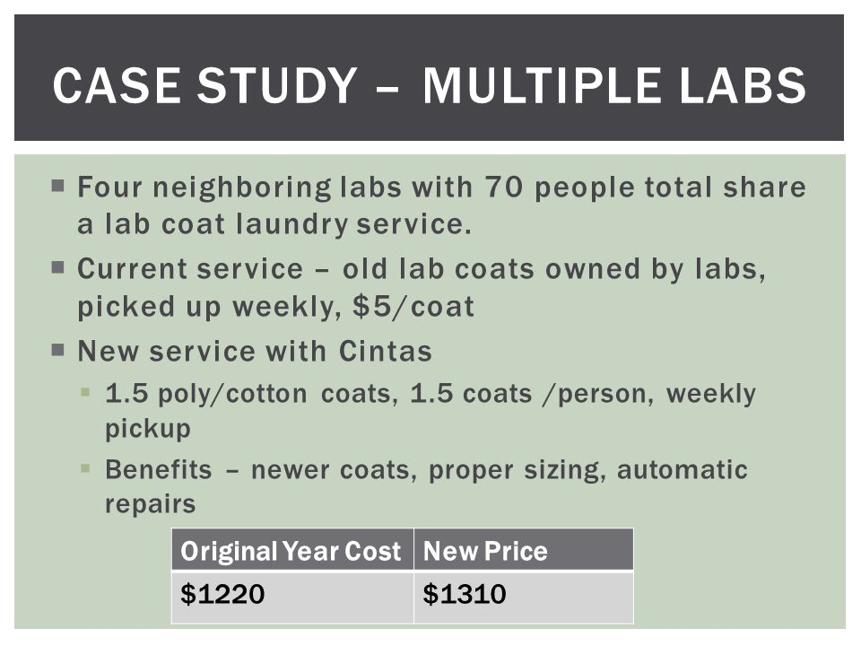  Four neighboring labs with 70 people total share a lab coat laundry service.