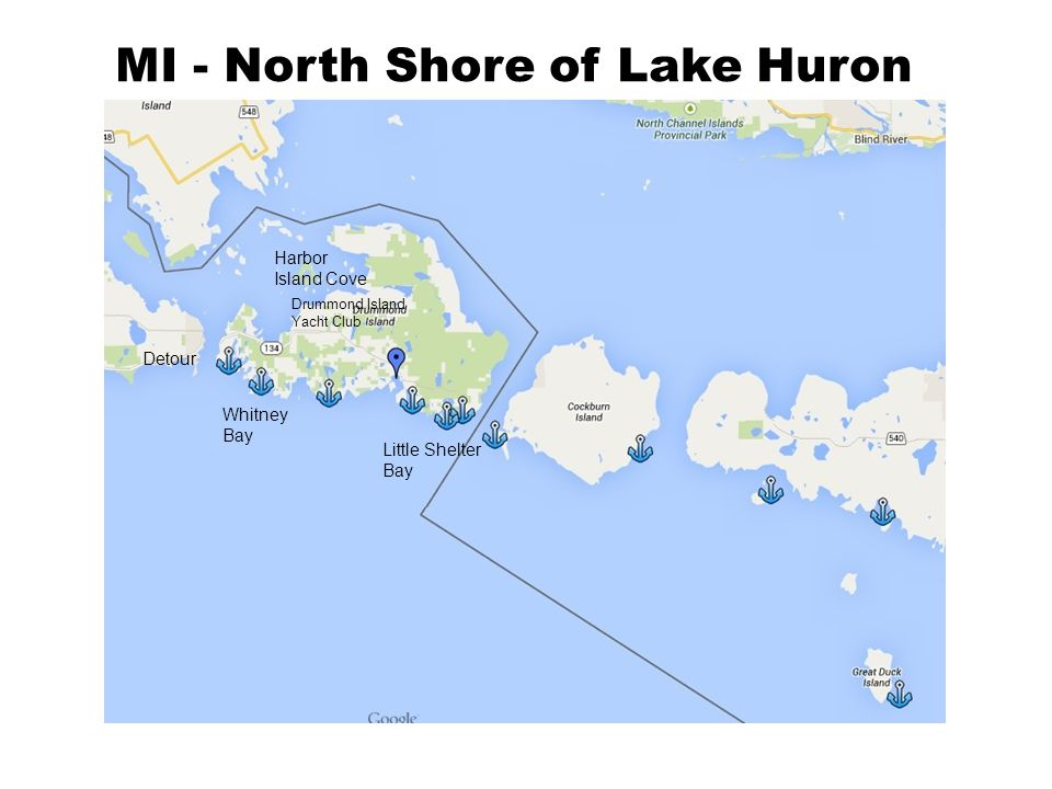 MI - North Shore of Lake Huron Whitney Bay Harbor Island Cove Little Shelter Bay Detour Drummond Island Yacht Club
