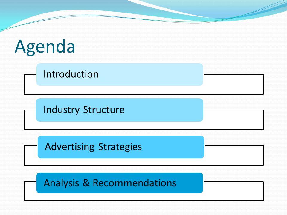 Agenda IntroductionIndustry StructureAdvertising Strategies Analysis & Recommendations