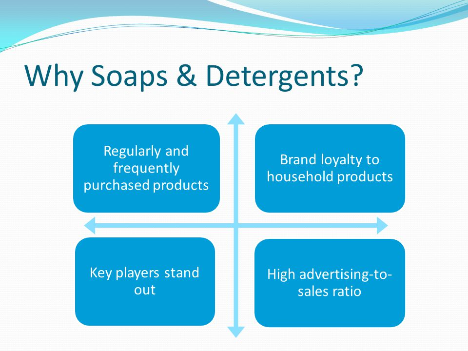 Why Soaps & Detergents? Regularly and frequently purchased products Brand loyalty to household products Key players stand out High advertising-to- sal