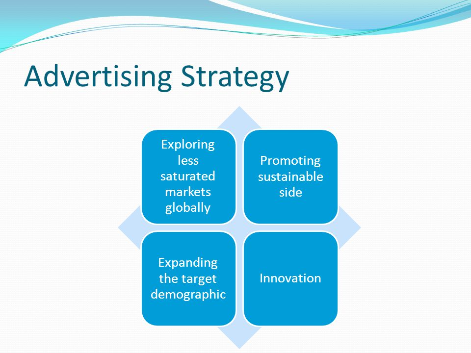 Advertising Strategy Exploring less saturated markets globally Promoting sustainable side Expanding the target demographic Innovation