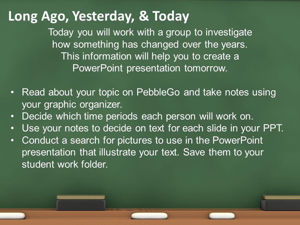 Today you will work with a group to investigate how something has changed over the years.