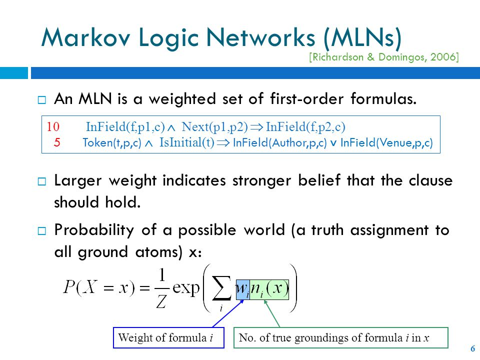  An MLN is a weighted set of first-order formulas.