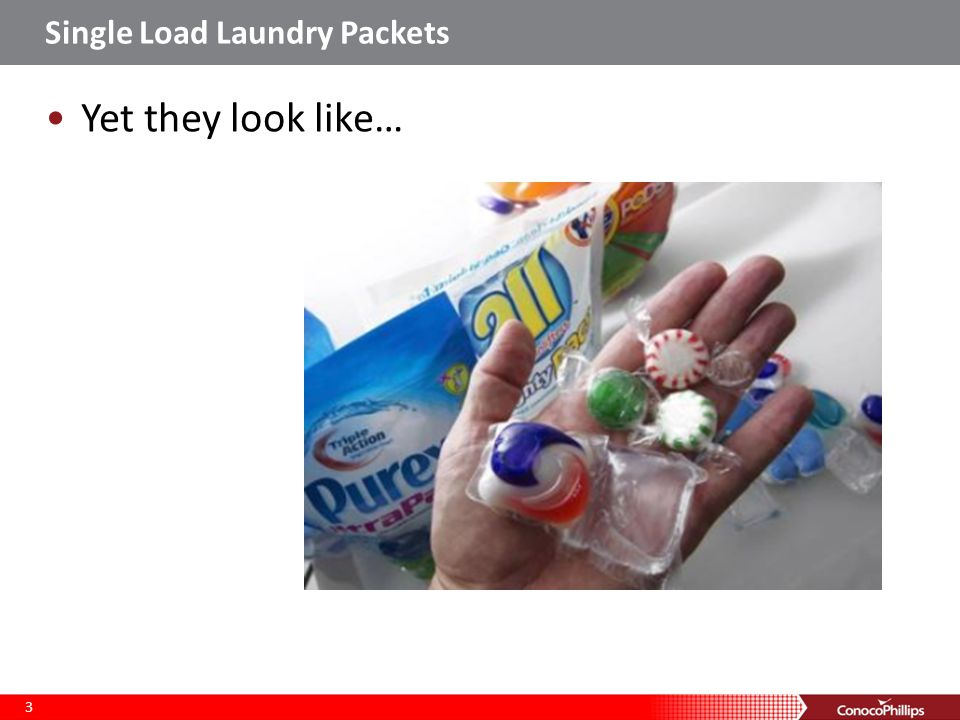 Single Load Laundry Packets Easy to overlook Easily ruptured Gummy Bright and colorful Deadly 4