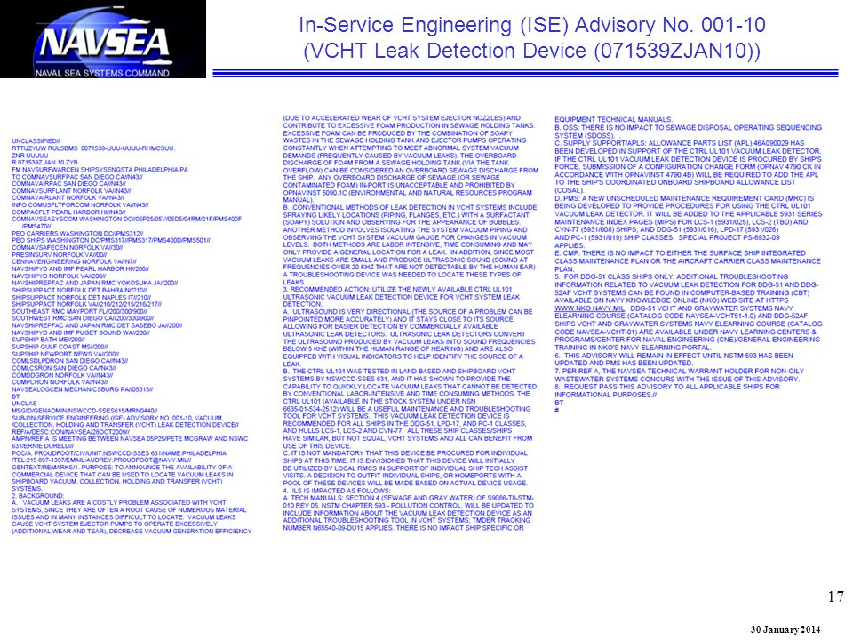 30 January 2014 In-Service Engineering (ISE) Advisory No. 001-10 (VCHT Leak Detection Device (071539ZJAN10)) 17