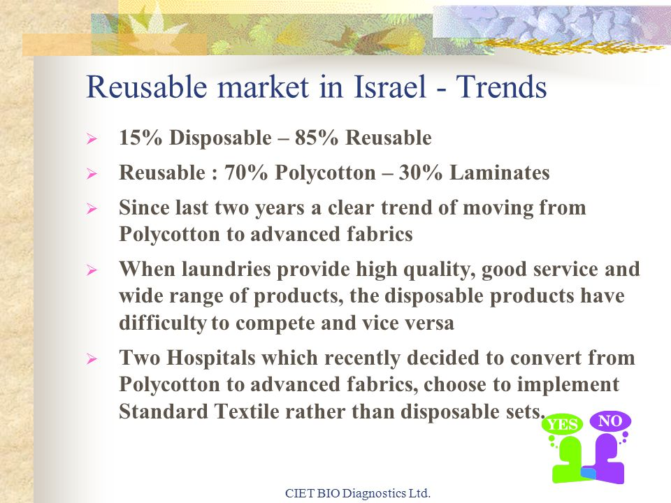 Reusable market in Israel - Trends  15% Disposable – 85% Reusable  Reusable : 70% Polycotton – 30% Laminates  Since last two years a clear trend of moving from Polycotton to advanced fabrics  When laundries provide high quality, good service and wide range of products, the disposable products have difficulty to compete and vice versa  Two Hospitals which recently decided to convert from Polycotton to advanced fabrics, choose to implement Standard Textile rather than disposable sets.