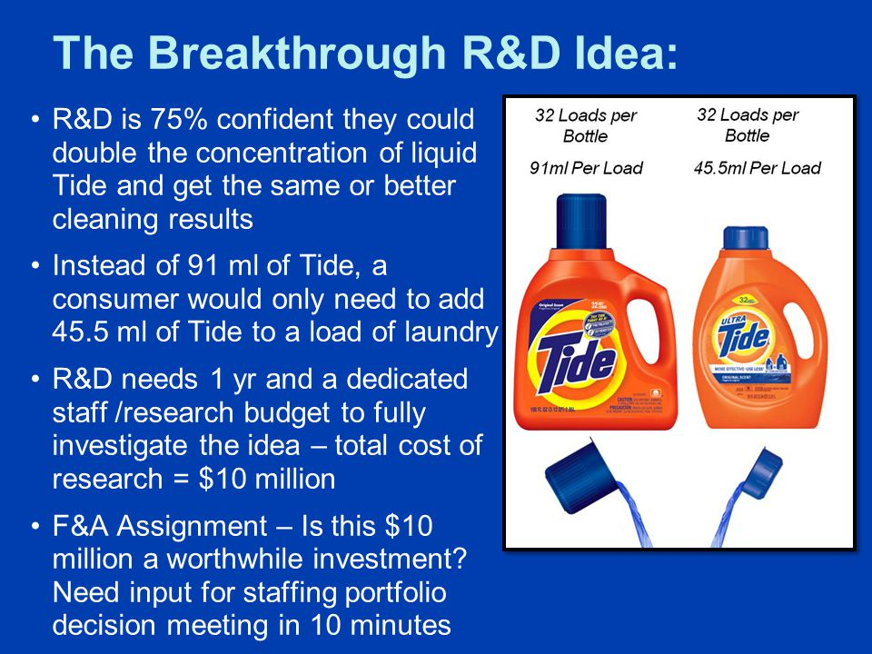 The Breakthrough R&D Idea: R&D is 75% confident they could double the concentration of liquid Tide and get the same or better cleaning results Instead of 91 ml of Tide, a consumer would only need to add 45.5 ml of Tide to a load of laundry R&D needs 1 yr and a dedicated staff /research budget to fully investigate the idea – total cost of research = $10 million F&A Assignment – Is this $10 million a worthwhile investment.