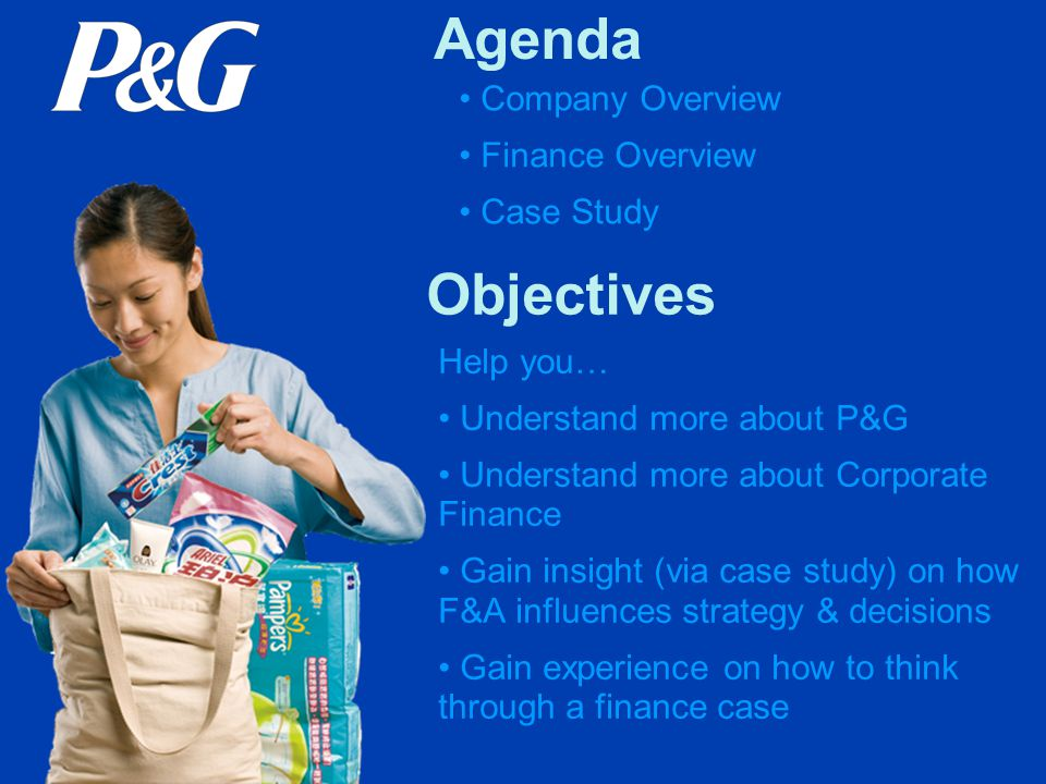 Many roles based on P&G's Organizational Structure: F&A Roles at P&G MDO (Mkt Development Org) Strategy & Business Planning Financial Analysis Sales Finance Customer Logistics Finance GBU (Global Business Unit) Strategy & Business Planning Product Supply, Plant Finance Financial Initiative Analysis R&D Finance GBS (Global Business Services) Financial Services & Solutions Business Information Business Planning CF (Corporate Functions) M&A, Ext Business Development Corporate Accounting Treasury Tax, Finance HR
