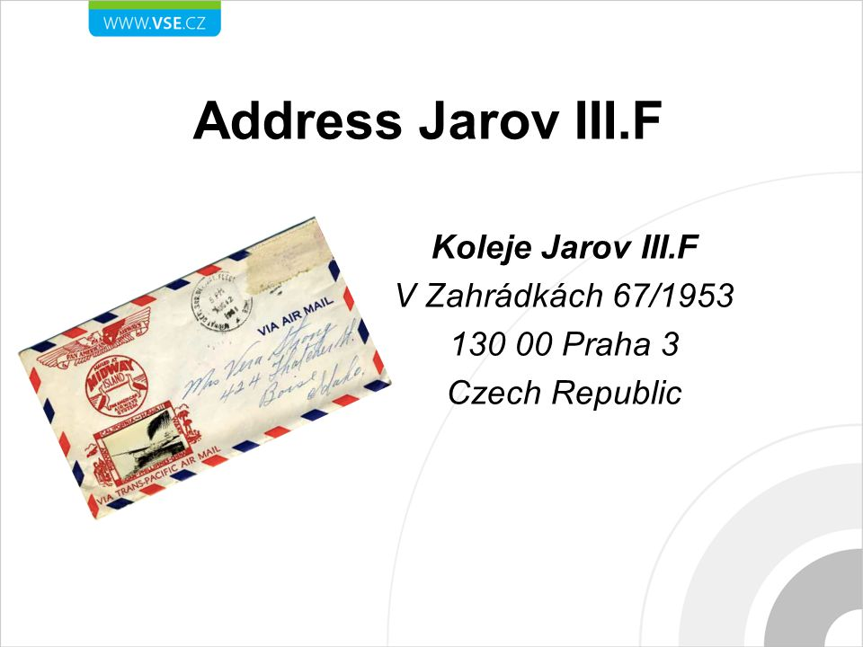 Address Jarov III.F Koleje Jarov III.F V Zahrádkách 67/1953 130 00 Praha 3 Czech Republic