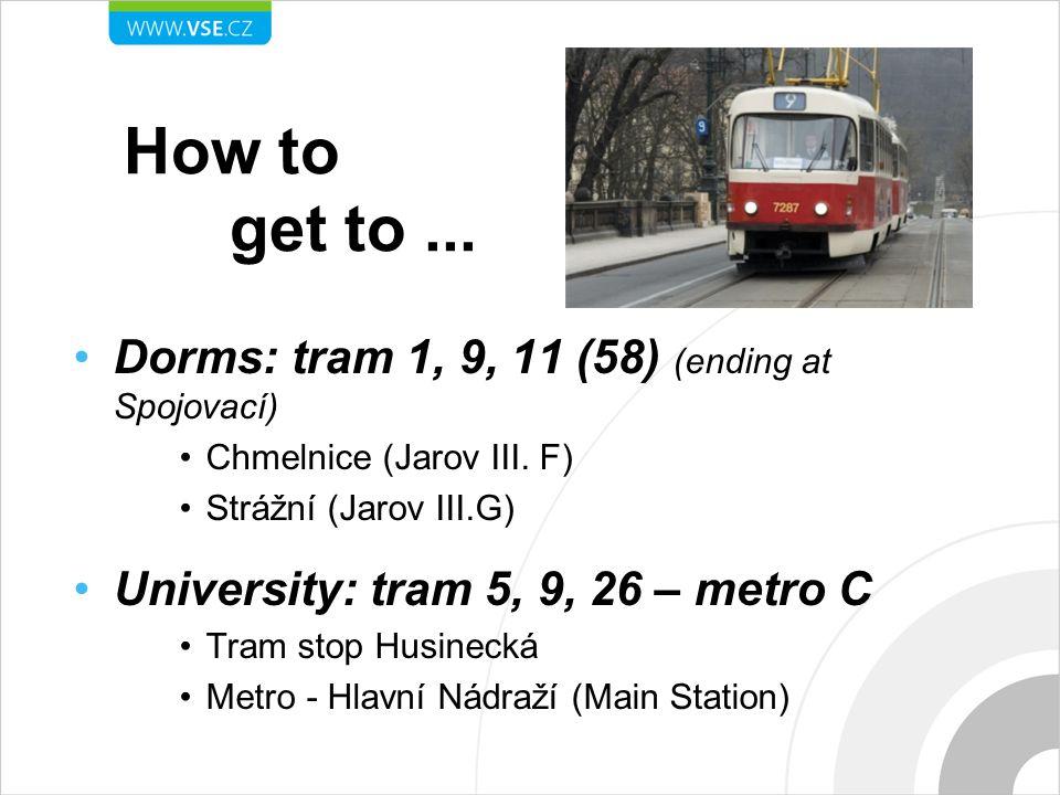 How to get to... Dorms: tram 1, 9, 11 (58) (ending at Spojovací) Chmelnice (Jarov III.