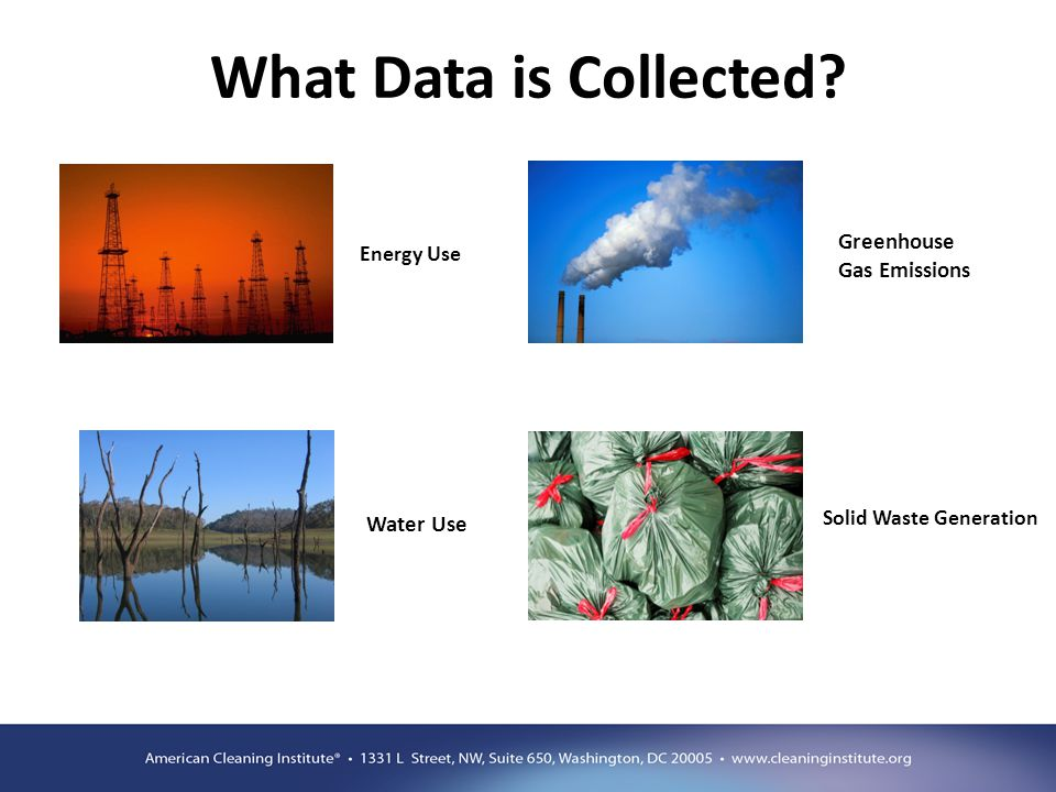 What Data is Collected? Water Use Greenhouse Gas Emissions Energy Use Solid Waste Generation