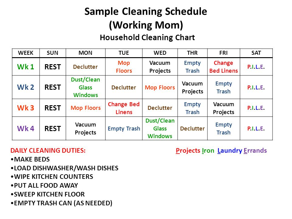 Sample Cleaning Schedule (Working Mom) Household Cleaning Chart DAILY CLEANING DUTIES: Projects Iron Laundry Errands MAKE BEDS LOAD DISHWASHER/WASH DI