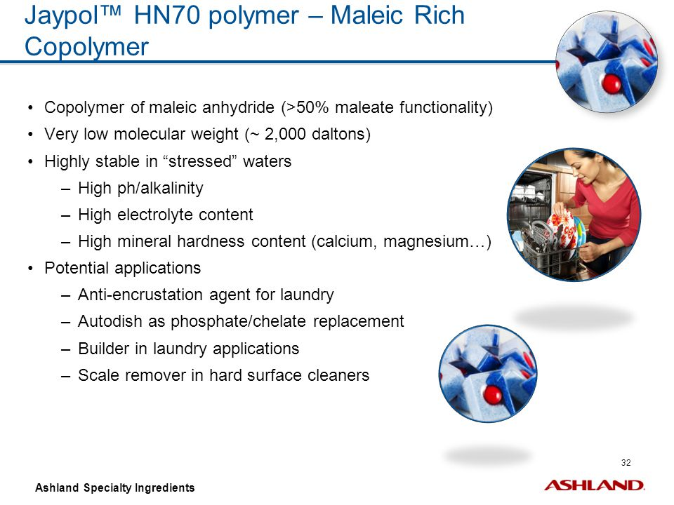 32 Ashland Specialty Ingredients Jaypol™ HN70 polymer – Maleic Rich Copolymer Copolymer of maleic anhydride (>50% maleate functionality) Very low mole