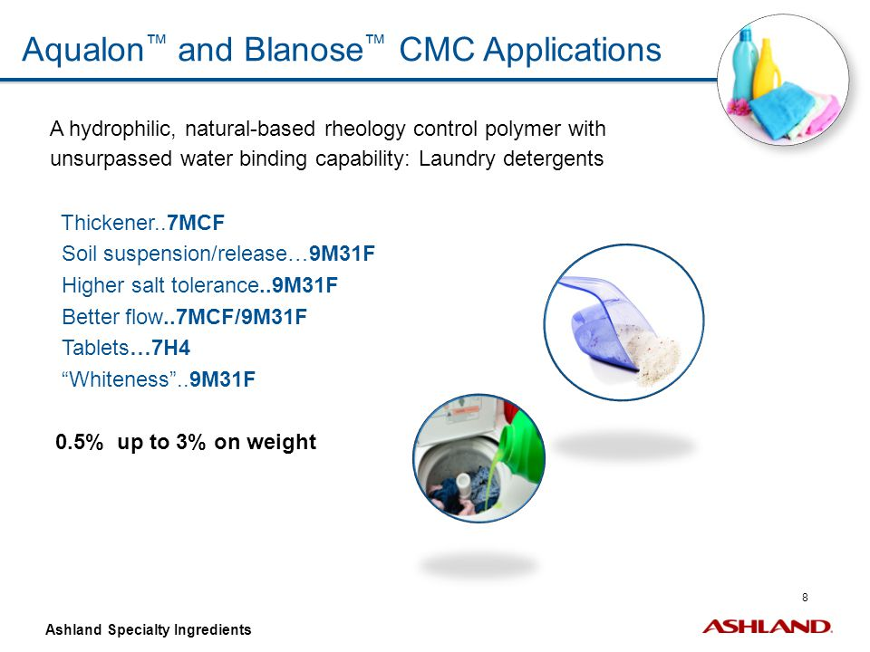 29 Ashland Specialty Ingredients Customer Needs Encrustation Control – Global Laundry Nomination for INNOVA Acrylates/Acetylenics – Mineral Scale Control Whiter whites Brigher colors Bring back black Color restore Anti-greying/anti-encrustation Anti redeposition Improved cleaning Mineral salt control Inhibition Dispersion Crystal modification Solids dispersion