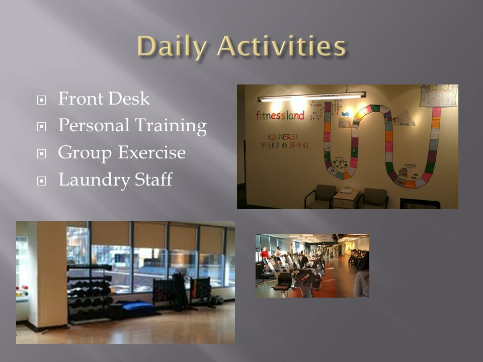  Front Desk  Personal Training  Group Exercise  Laundry Staff