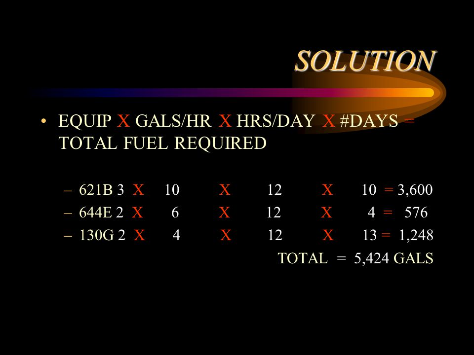 SOLUTION EQUIP X GALS/HR X HRS/DAY X #DAYS = TOTAL FUEL REQUIRED –621B 3 X 10 X 12 X 10 = 3,600 –644E 2 X 6 X 12 X 4 = 576 –130G 2 X 4 X 12 X 13 = 1,248 TOTAL = 5,424 GALS