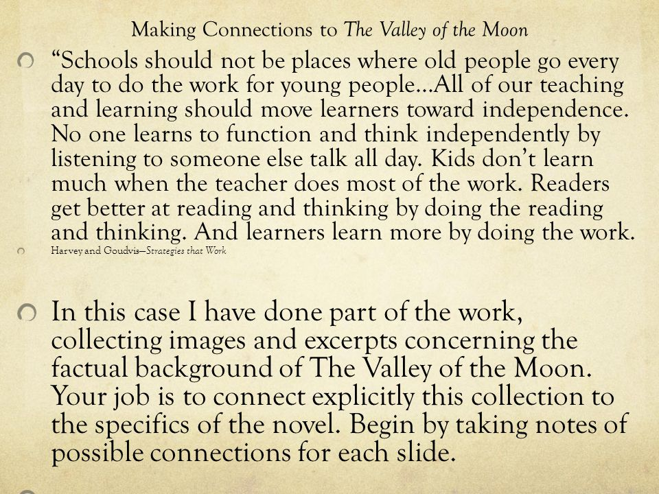 The Valley of the Moon and Real Life