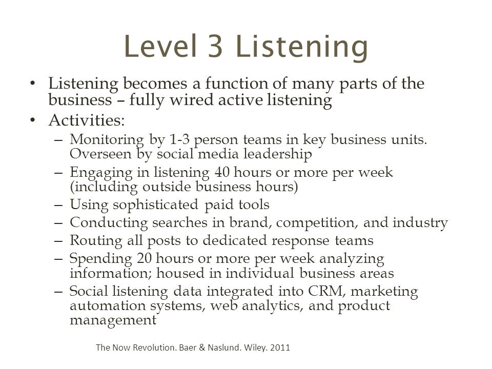 Level 3 Listening Listening becomes a function of many parts of the business – fully wired active listening Activities: – Monitoring by 1-3 person teams in key business units.